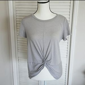 Gray Gathered Top, Champion Workout Tee, Small